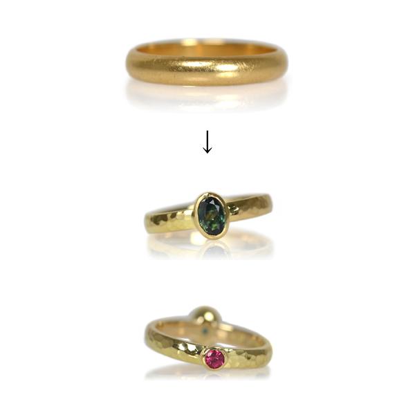 グリーンサファイアピンクスピネルリング指輪作り変えリメイクリフォームオーダーメイドジュエリーご遺品