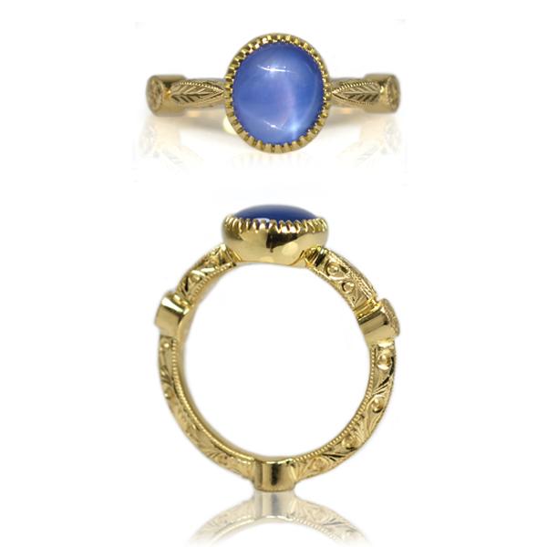 K18YG製スターサファイア彫金リング指輪オーダーメイドジュエリー