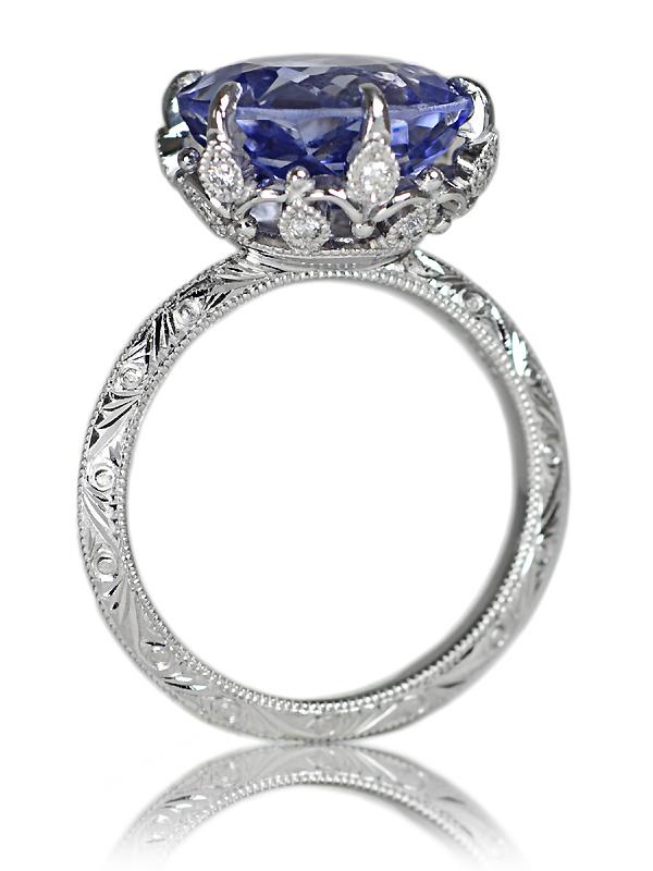 Pt900製サファイア・ダイアモンド彫金リング指輪結婚記念20周年