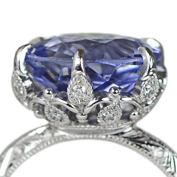 Pt900製サファイア・ダイアモンド彫金リング指輪結婚記念20周年ジュエリー