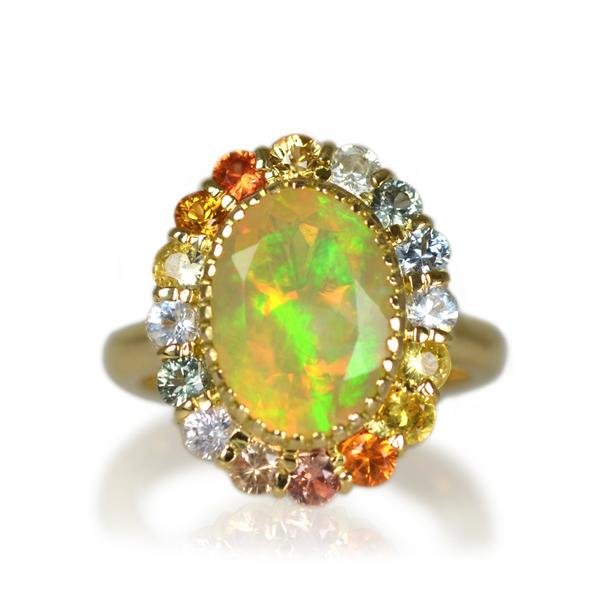 K18YG製ゴールドエチオピアオパールサファイアリング指輪オーダーメイドジュエリー