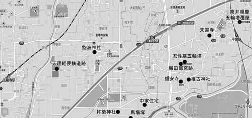 平端から法隆寺地図