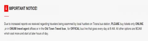 ティラナからコトルへのバスチケットが買えるHP2