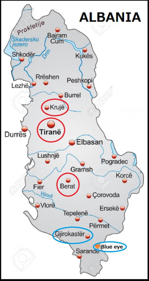 アルバニアの地図2