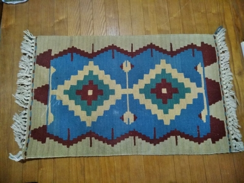 トルコ製ブルー系キリムの玄関マット1