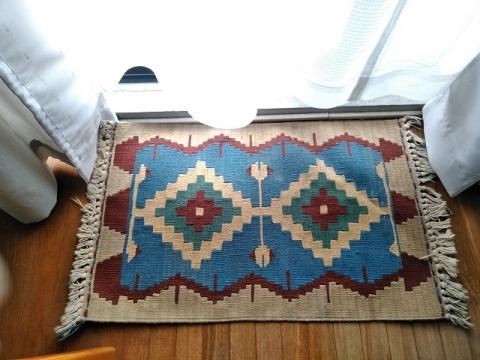 トルコ製ブルー系キリムの玄関マット2