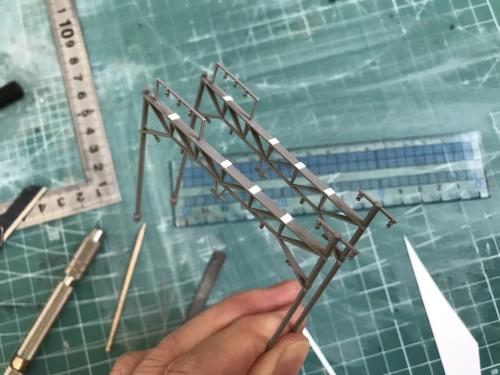 KATO複線架線柱 架線準備工事 (7)