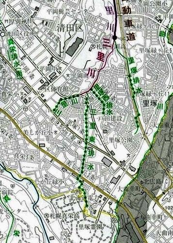 河川網図 三里東排水上流部