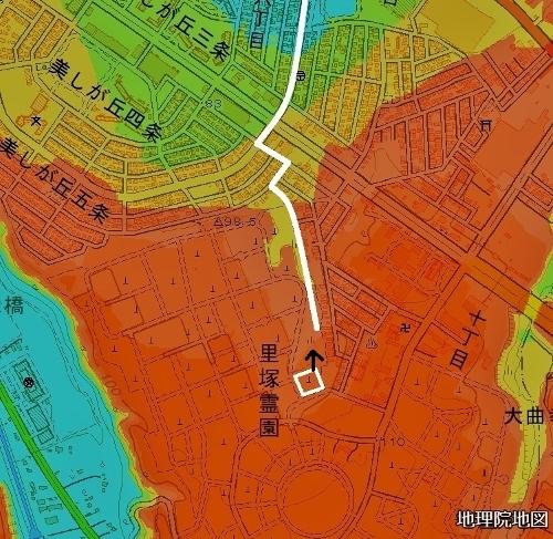 色別標高図 里塚霊園 三里東排水