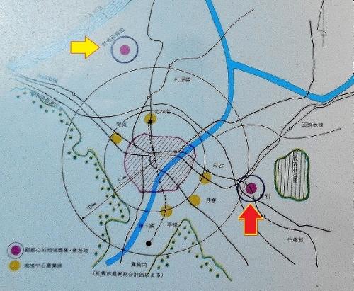 厚別副都心開発基本計画1973年 多核心構想図