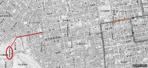 地理院地図 北1条・宮の沢通 明治6年当時の古道
