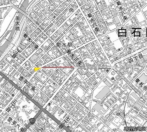 現在図 菊水1条3丁目 旧道