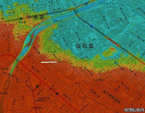色別標高図 標高17m以下から7色段彩 市道山道線