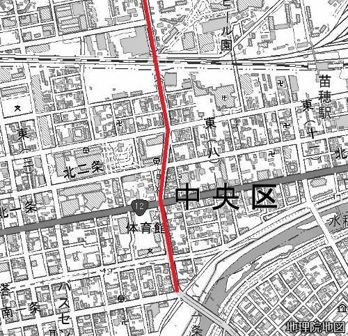 現在図 東8丁目通り 地理院地図