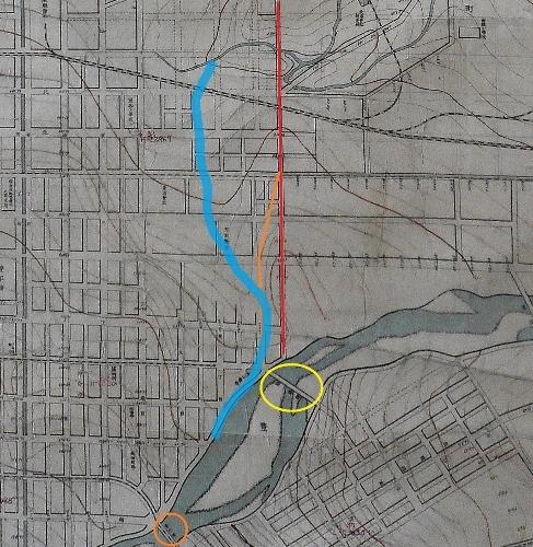 札幌市街之図 視形線図 札幌川河道跡推定