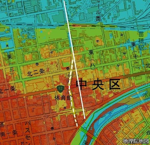 現在図 16m以下から1mごと7色段彩 東8丁目通り