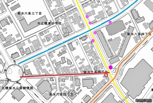 現在図 電柱「東札幌駅前幹」分布