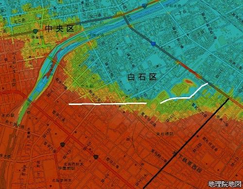 標高図 山道 17m以下から7色段彩