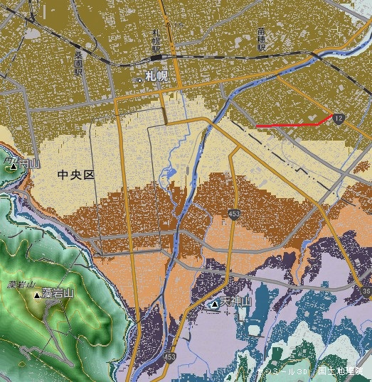 カシミール3D 札幌扇状地 平岸面 山道