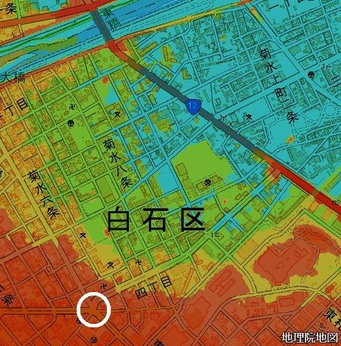 標高図 札幌東高付近 15m以下から7色