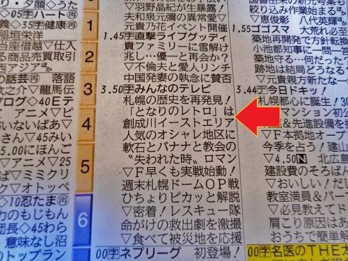 道新2019年3月3日紙面(3月4日のテレビ番組欄)