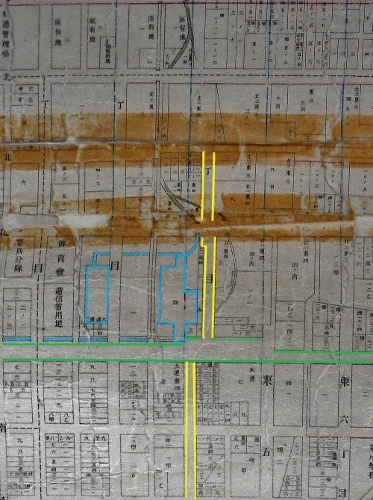 札幌全区地番明細連絡図 サッポロファクトリー近くのクランク 貯木場の痕跡