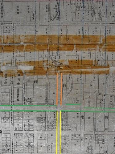 札幌全区地番明細連絡図 サッポロファクトリー近くのクランク  東4丁目線の直進化