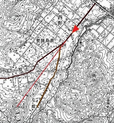 大正5年地形図 西野左股通 山アテ
