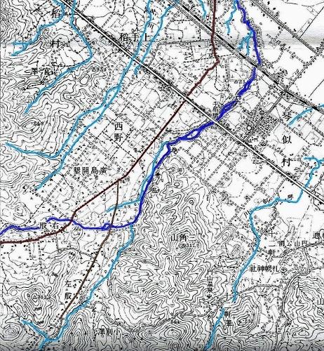 大正5年地形図 西野 発寒川
