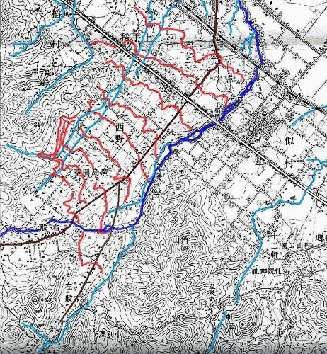 大正5年地形図 西野 発寒川左岸 等高線着色
