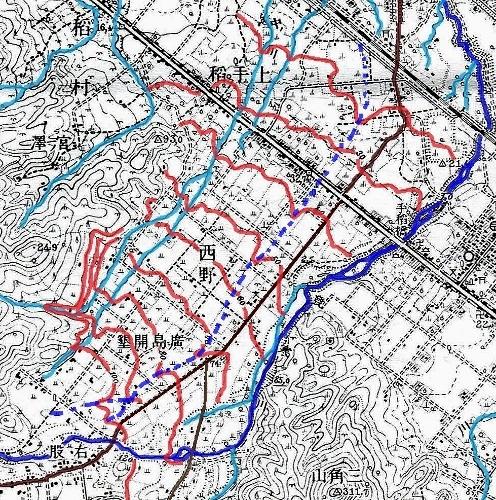 大正5年地形図 発寒川 旧河道推測