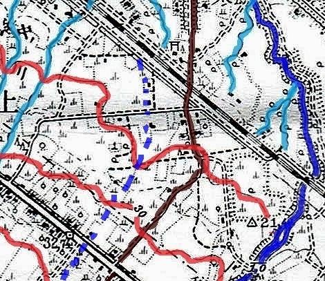大正5年地形図 発寒川 等高線、旧河道推定着色