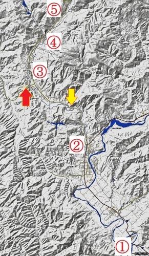 地理院地図 夕張 夕張川、志幌加別川流域 稚南部トンネル