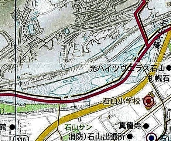 札幌市南区ガイド2008年 硬石山周辺 拡大