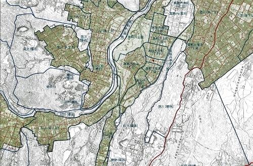 札幌市町名・住居表示実施区域図」2014年 硬石山周辺