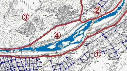 札幌市地図情報 認定道路 石山大橋周辺