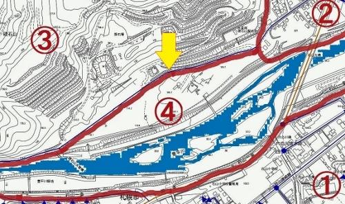 札幌市地図情報 認定道路図 硬石山と石山(番地)