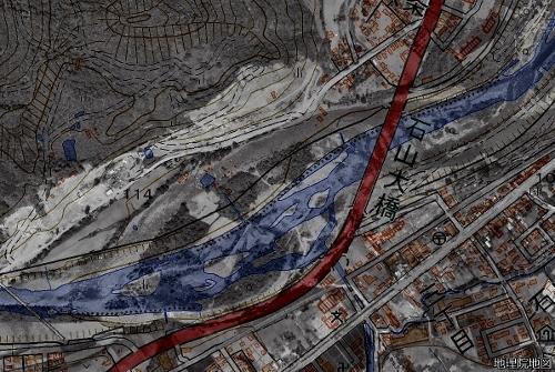 豊平川 石山周辺 現在図と1961年空撮レイヤー