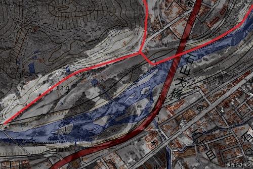 豊平川 石山周辺現在図と空中写真1961年のレイヤー 町界線