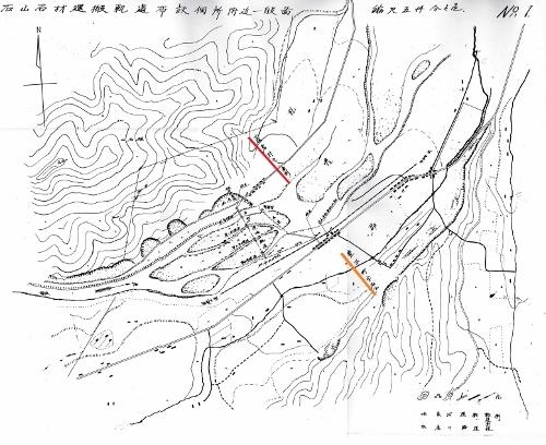 石山石材運搬軌道布設個所附近一般図 藻岩村、豊平町