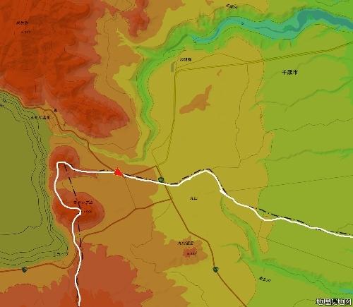 色別標高図 50m以下から50mごと10色段彩 中央分水嶺 支笏湖周辺