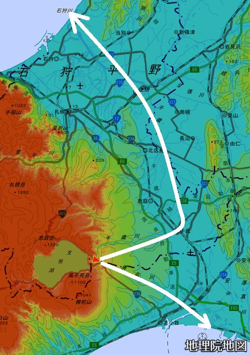 色別標高図 50m以下から50mごと10色段彩 中央分水嶺 石狩低地帯