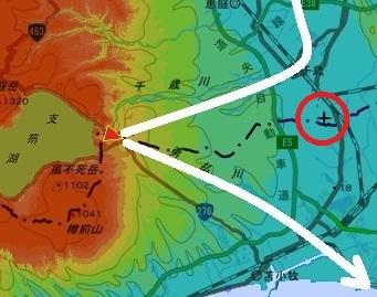 色別標高図 50m以下から50mごと10色段彩 中央分水嶺 新千歳空港