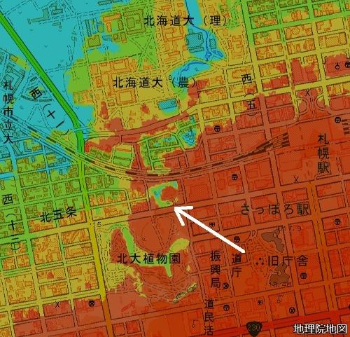 標高図 北5条、伊藤氏宅跡地周辺 標高14m以下から1mごと7色段彩