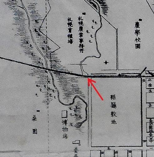 石狩国札幌市街之図明治十五六年頃 現伊藤氏宅跡地周辺