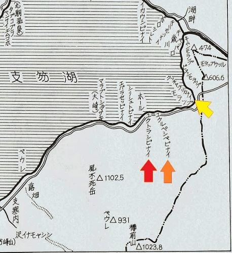ちとせ地名散歩 支笏湖略図 南東部地名
