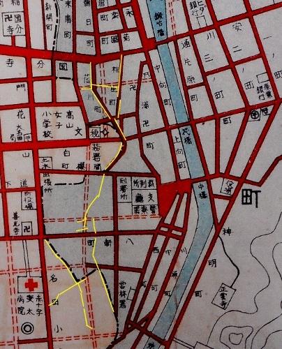 大名田町市街部之図 1936年 拡大 くねくね道