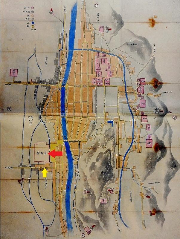 高山町絵図 幕府直轄地時代後期 水路
