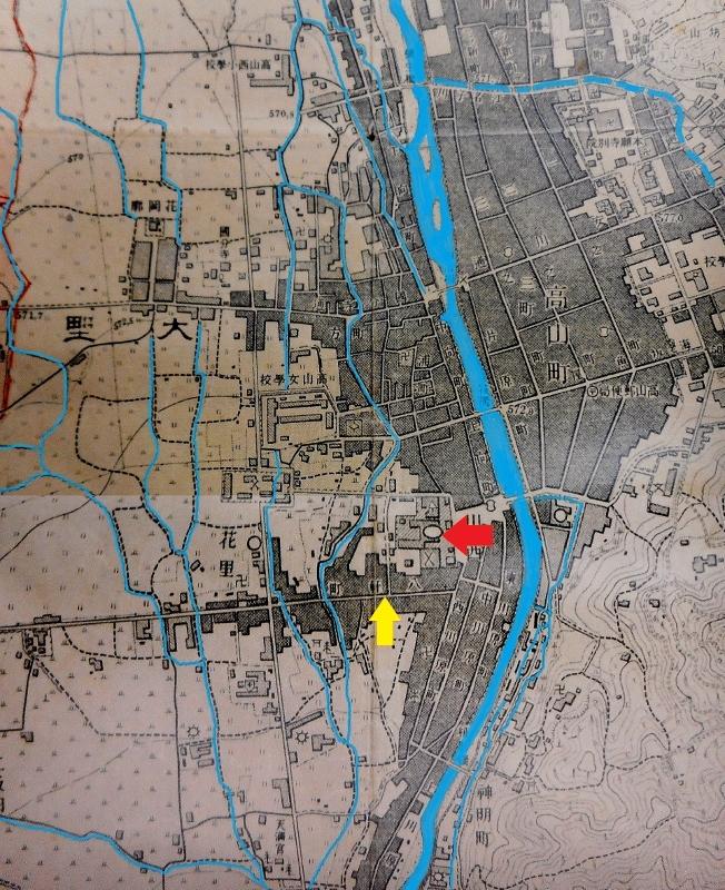 大正11年地形図高山北部 郡役所周辺 水路