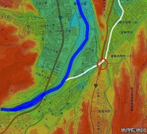 色別標高図 90m以下から10m毎10色 石山陸橋 かつての豊平川流路